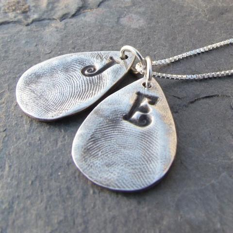 Captured Fingerprints - Fine Silver Charm and Necklace